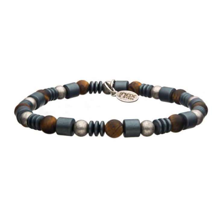 Mens Hematite and Tiger Eye Gemstone Bracelet