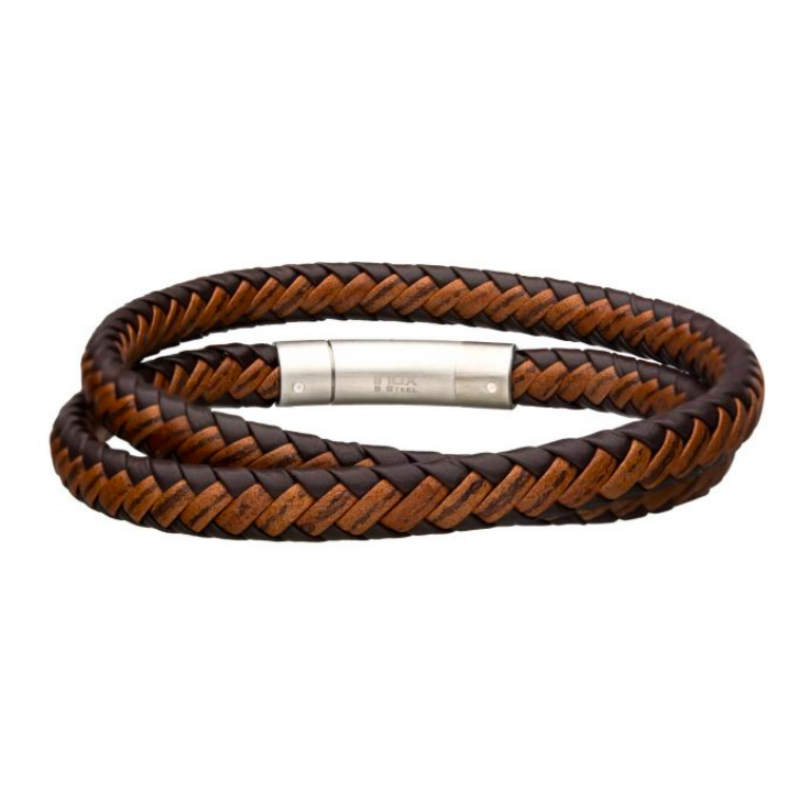 Mens Double Round Leather Bracelet