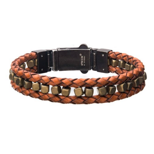Mens Brown Braided Leather with Gold Hematite Bracelet