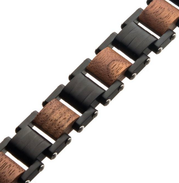 Mens Walnut Wooden Link Bracelet