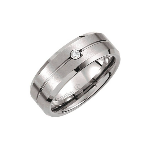 Mans Tungsten Diamond Band