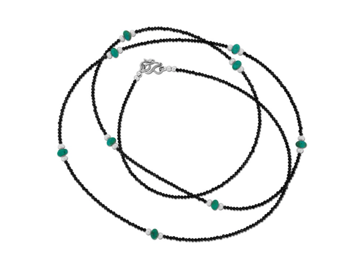 Blue Roundel Turquoise and Spinel Necklace