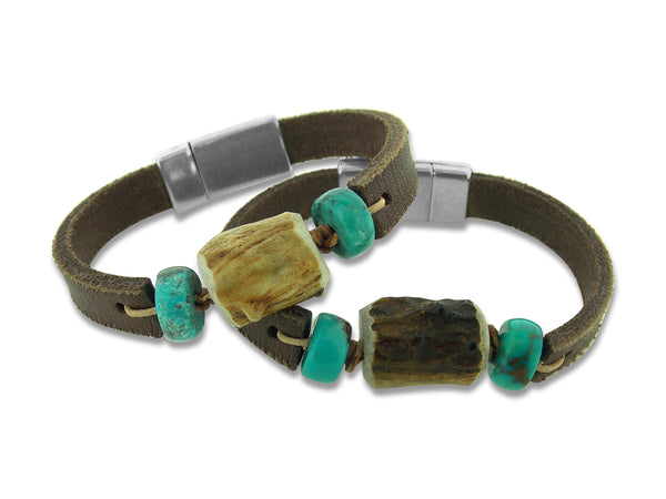 Antler, Turquoise and Leather Bracelet
