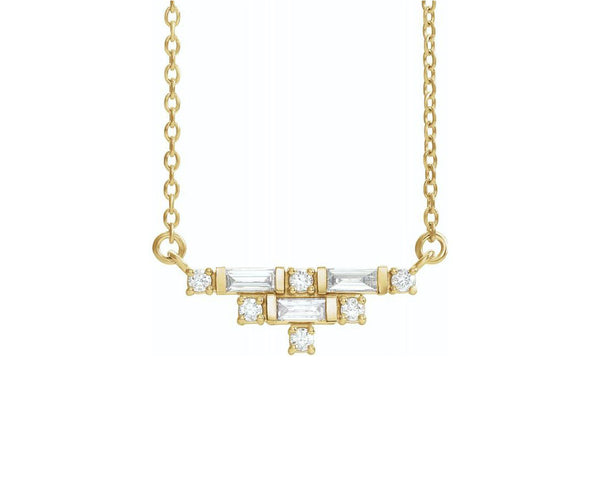 Art Deco Diamond Bar Necklace
