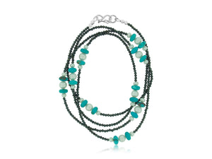 Turquoise Pearl and Spinel Necklace