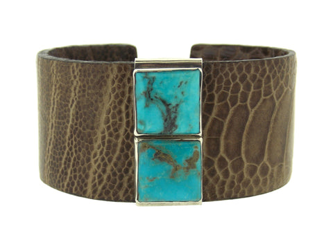 Brown Ostrich & Turquoise Cuff