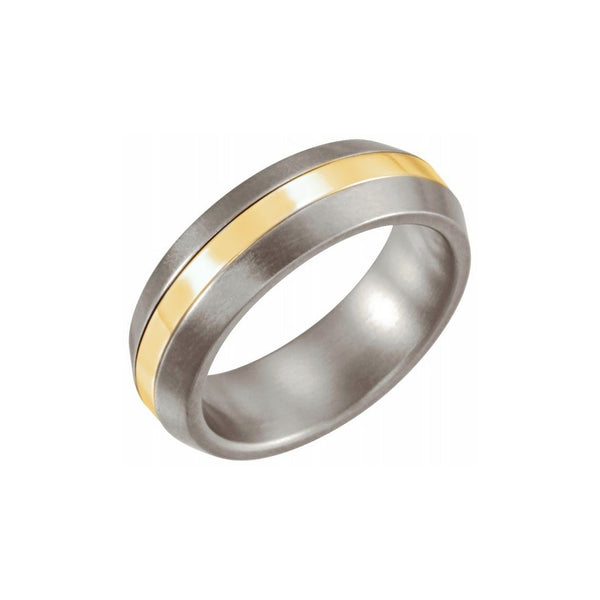 Titanium and 14kt Yellow Gold Inlay Band