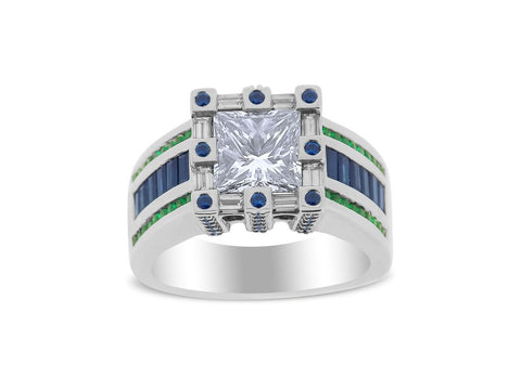 Diamond, Sapphire and Emerald Wow Ring