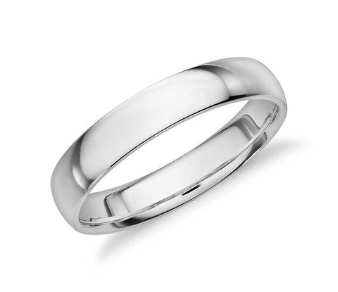 Polished White Gold Wedding Band
