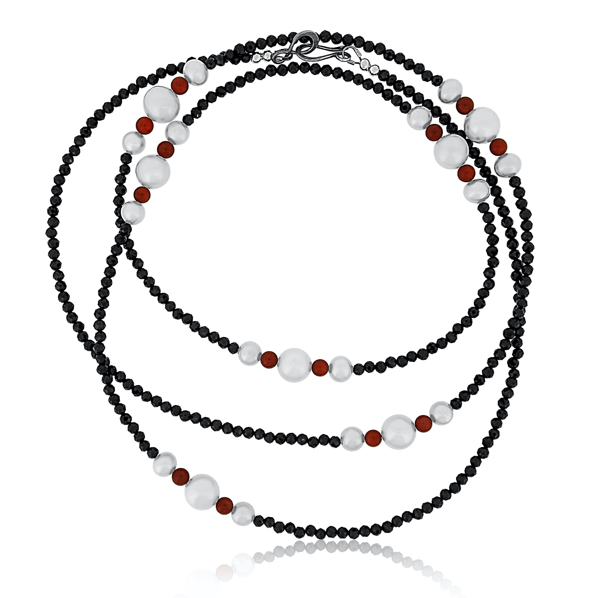 Spinel Coral and Pearl Long Necklace