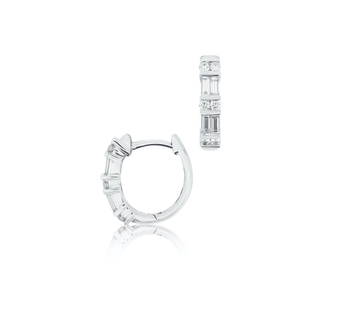 Baguette Diamond Hoop Earrings