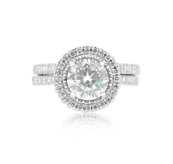 Halo Engagement Semi Mount Ring with Diamond Band