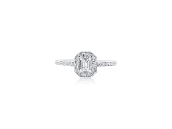 Emerald Cut Diamond Ring with Halo