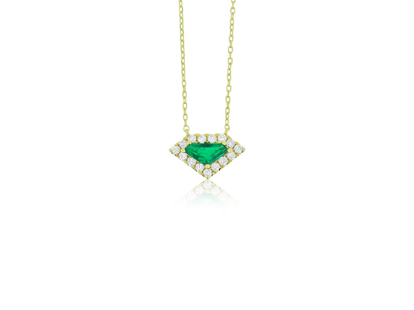 Trillion Cut Emerald and Diamond Pendant
