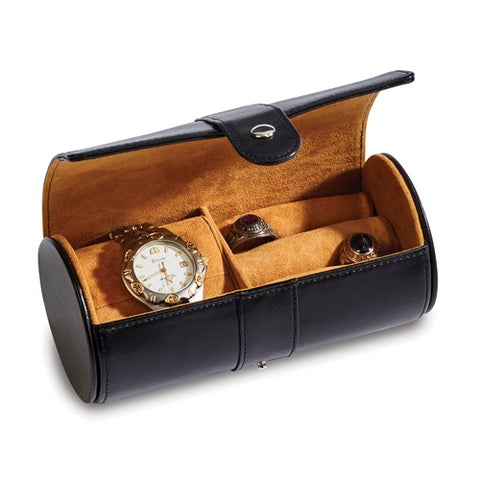 Black Leather Round Jewelry Case