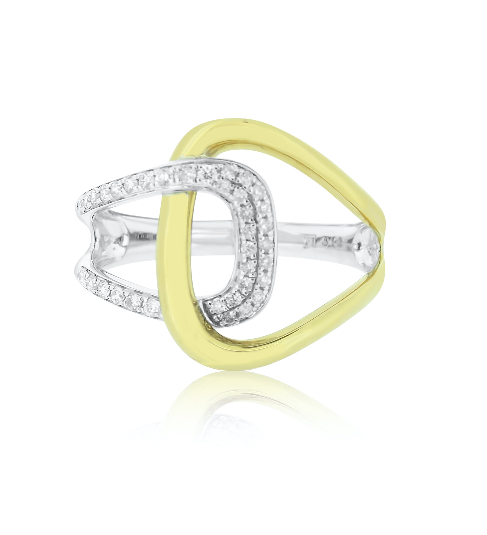 Gold and Diamond Interlocking Ring