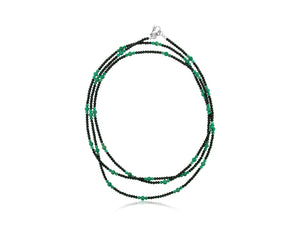 Green Turquoise and Spinel Long Necklace