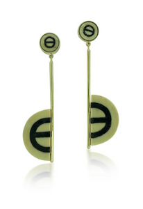 Woolly Mammoth Ivory Inlaid Half Circle Earrings