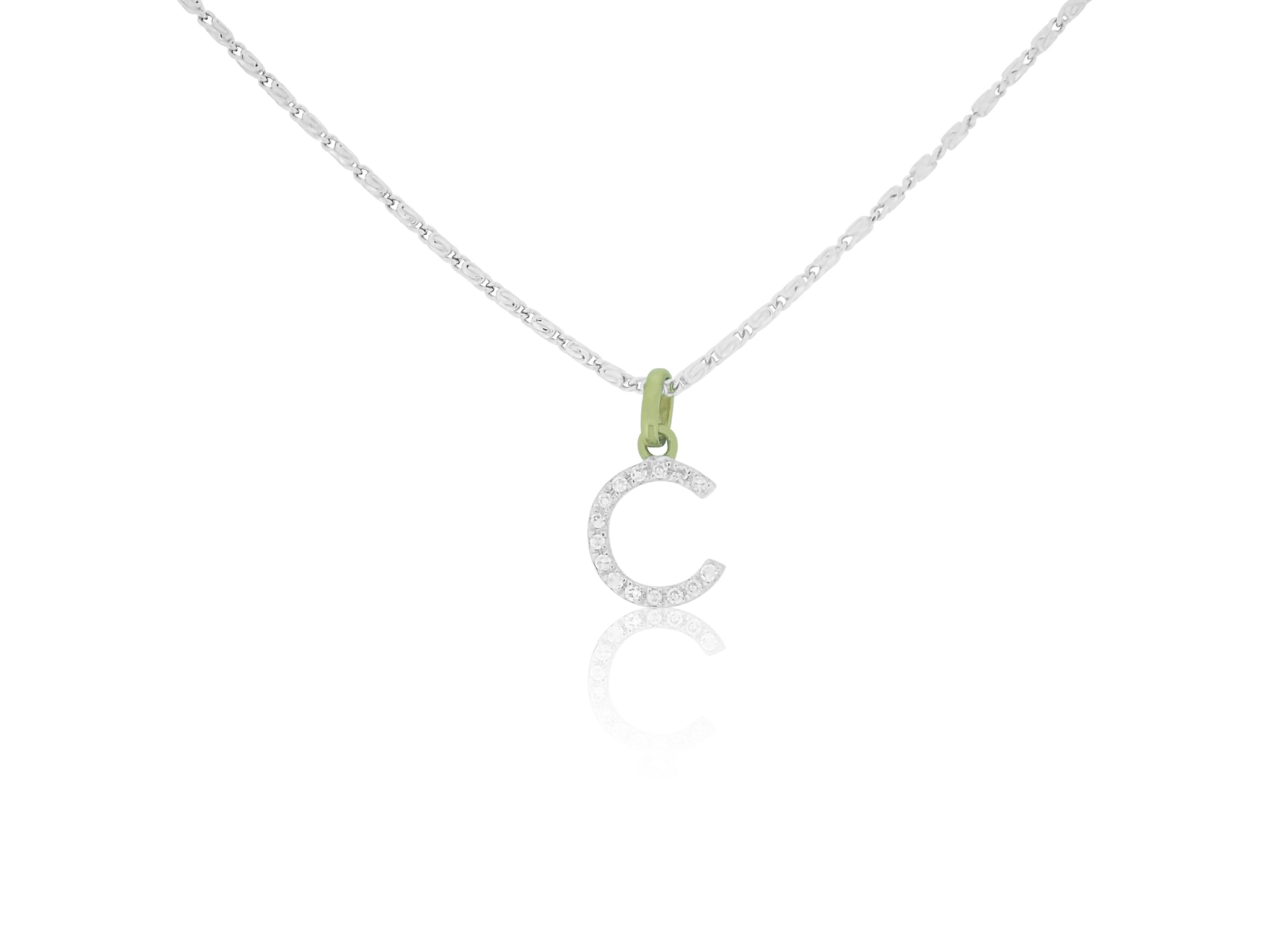 Initial Diamond C Charm with Chain