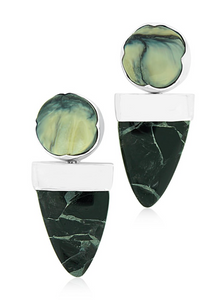 Jade and Woolly Mammoth Earrings
