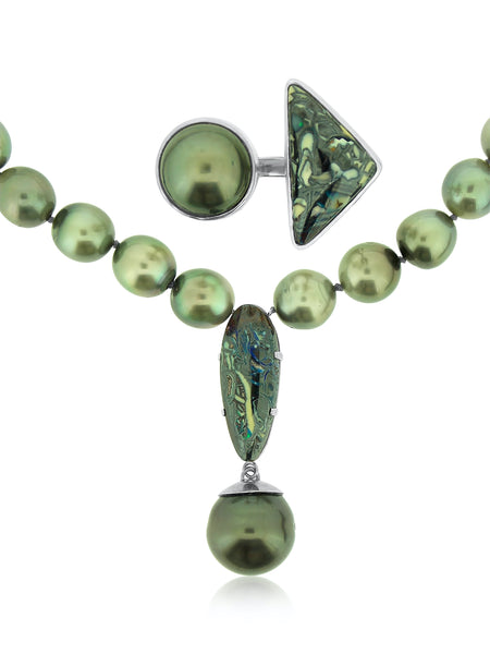 Boulder Opal and Tahitian Pearl Necklace