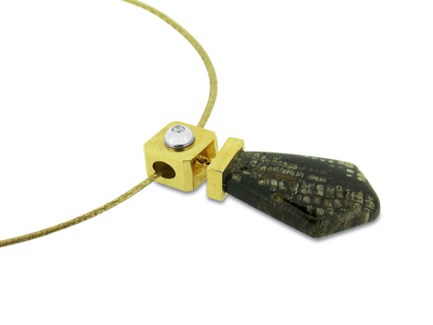 Petrified Wood and Diamond Gold Pendant