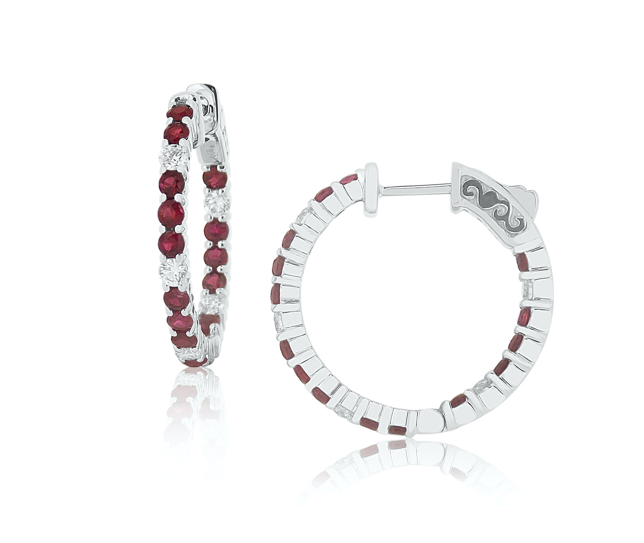 Ruby and Diamond Perfect Hoop Earrings
