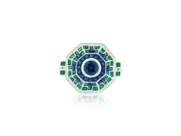 Sapphire, Emerald and Diamond Ring