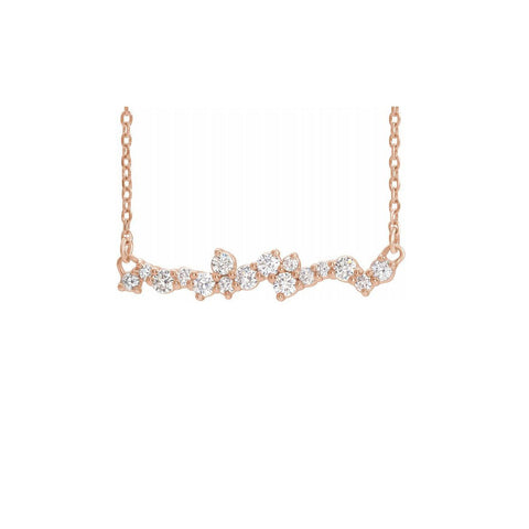 Diamond Scattered Bar Necklace