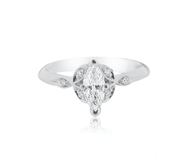 Marquise Diamond Ring with Leaf Design