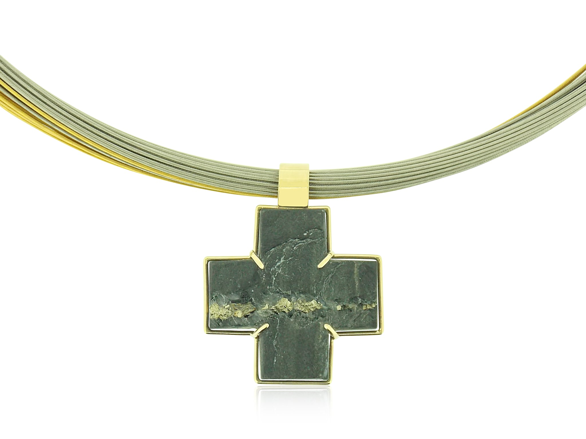 Slate Cross in Gold