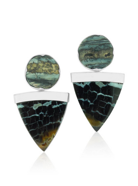 Petrified Wood and Woolly Mammoth Earrings