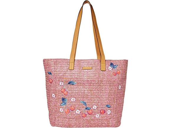 Vera Bradley Front Pocket Straw Tote In Pink Cherry