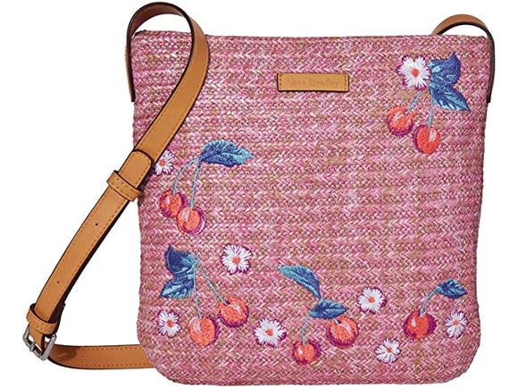 Vera Bradley Straw Crossbody In Pink Cherry