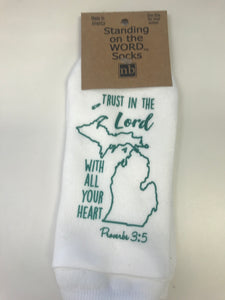 Standing on the Word Proverbs 3:5 Michigan State Socks