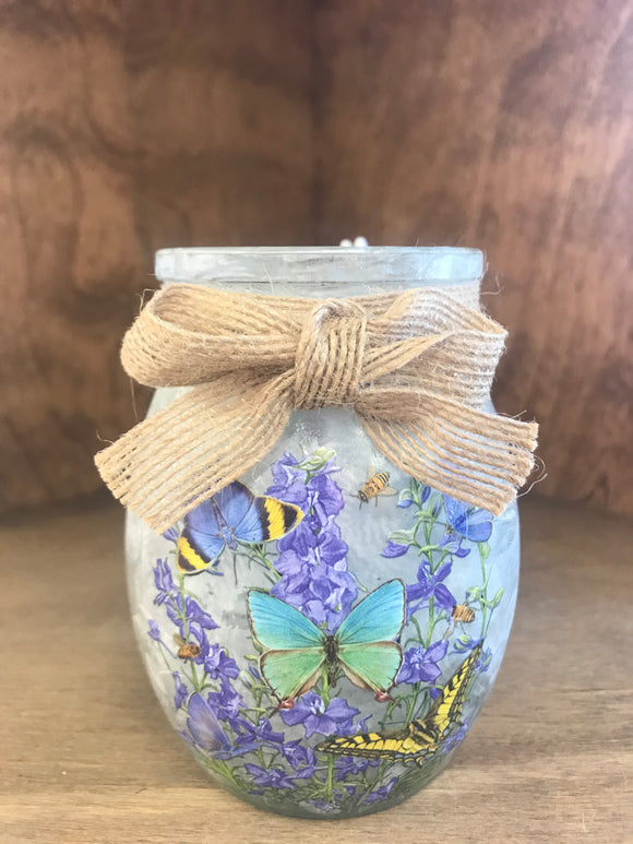 Stony Creek Butterfly Lavender  Lighted Jar Vase