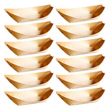 100Pcs Disposable Wooden Snack Boats