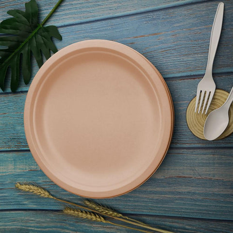 50pcs Compostable Paper Plates