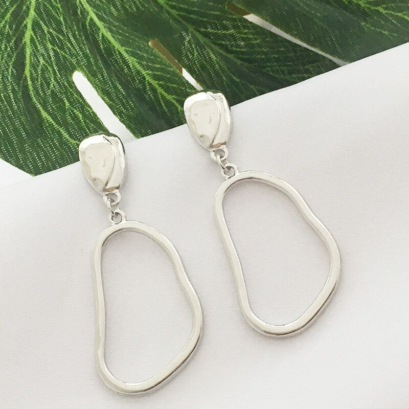 Minimal Silver Squeezed Hoop Drops