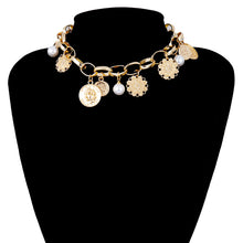 Load image into Gallery viewer, Abundance Golden Coin & Pearl Choker Necklace