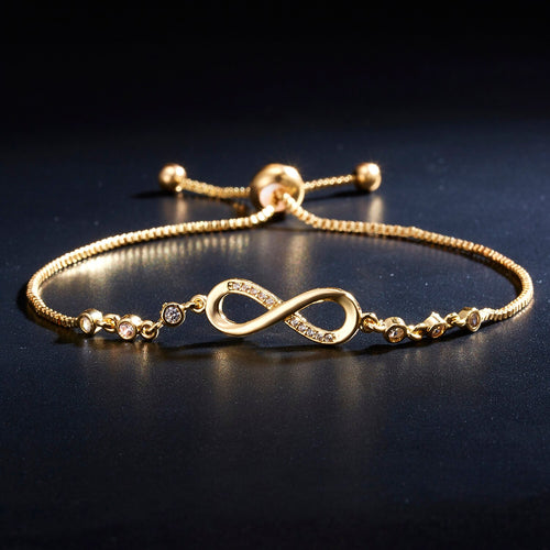 Chiq Infinity Golden Adjustable Crystal Bracelet