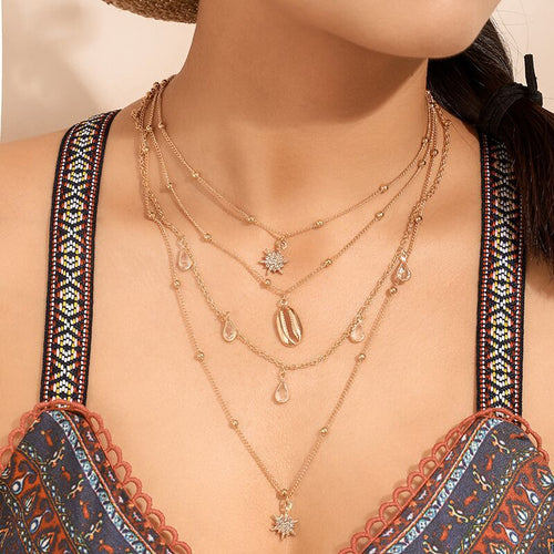 Bohemian Layered Necklace Gold