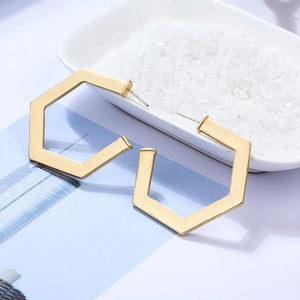 Bold and Gold Broken Hexa Hoops