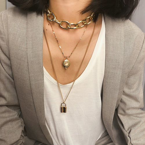 Lock Layered Necklace