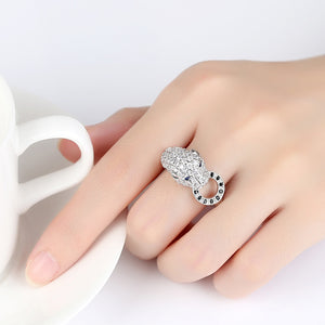 Bold Silver Cheetah Chunk Ring