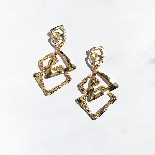Bold and Gold Long Drop Triangle Earrings