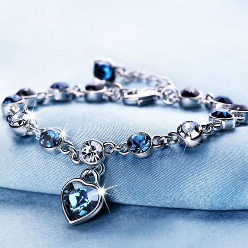 Chic Silver Bracelet with Blue Coloured Stones