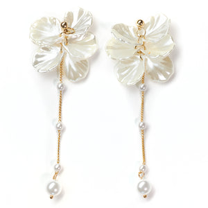 Abundance long-drop Pearl & Shells Earrings