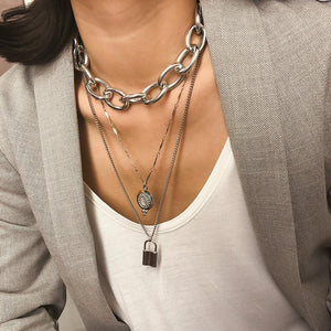 Lock Layered Necklace Silver