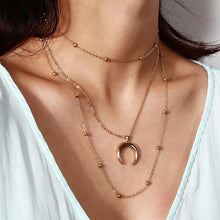 Load image into Gallery viewer, Single Moon Layered Necklace